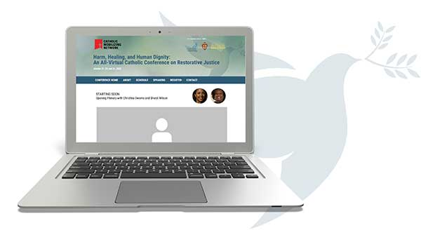 Restorative Justice conference promo - image of laptop displaying website.