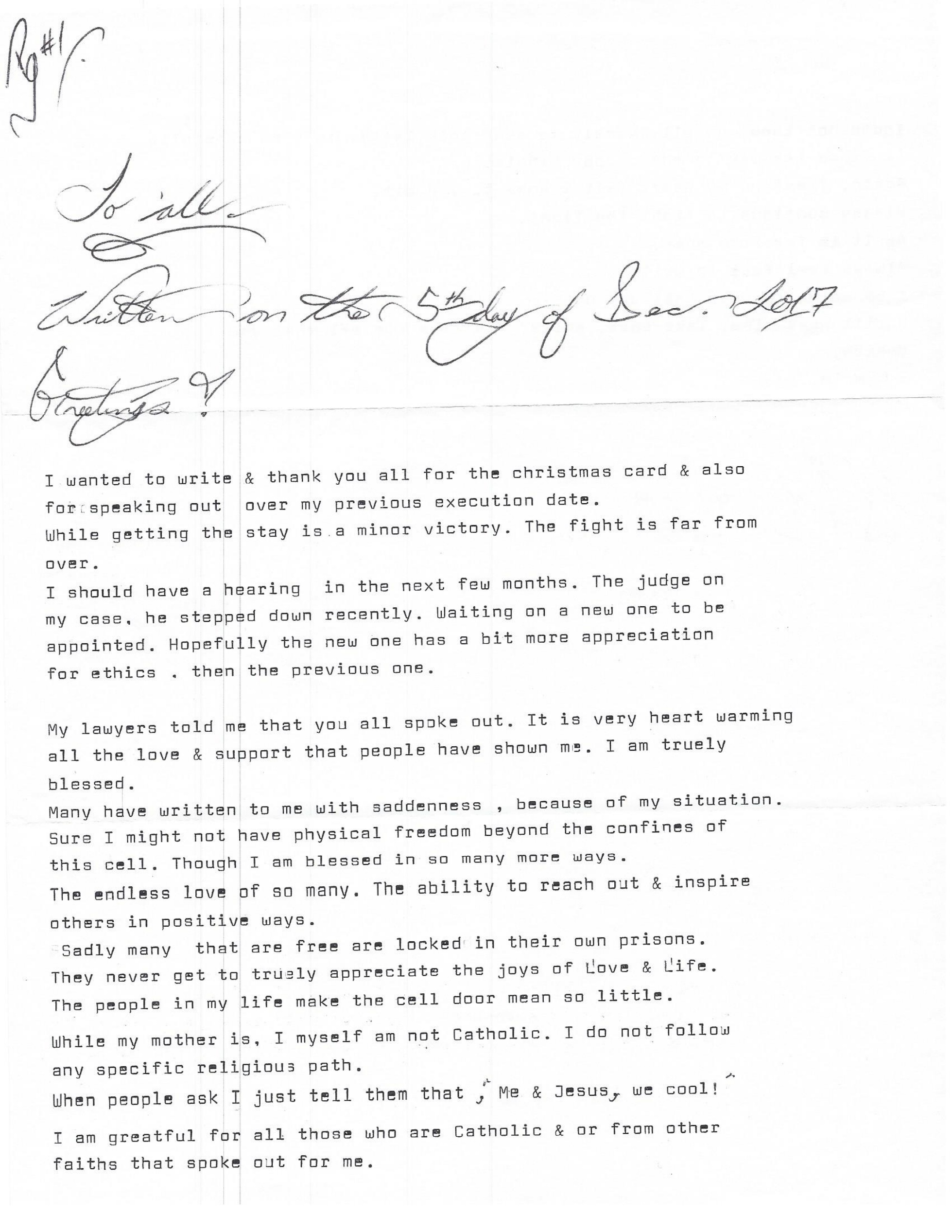 A Letter From Texas Death Row Inmate Clinton Young Catholic