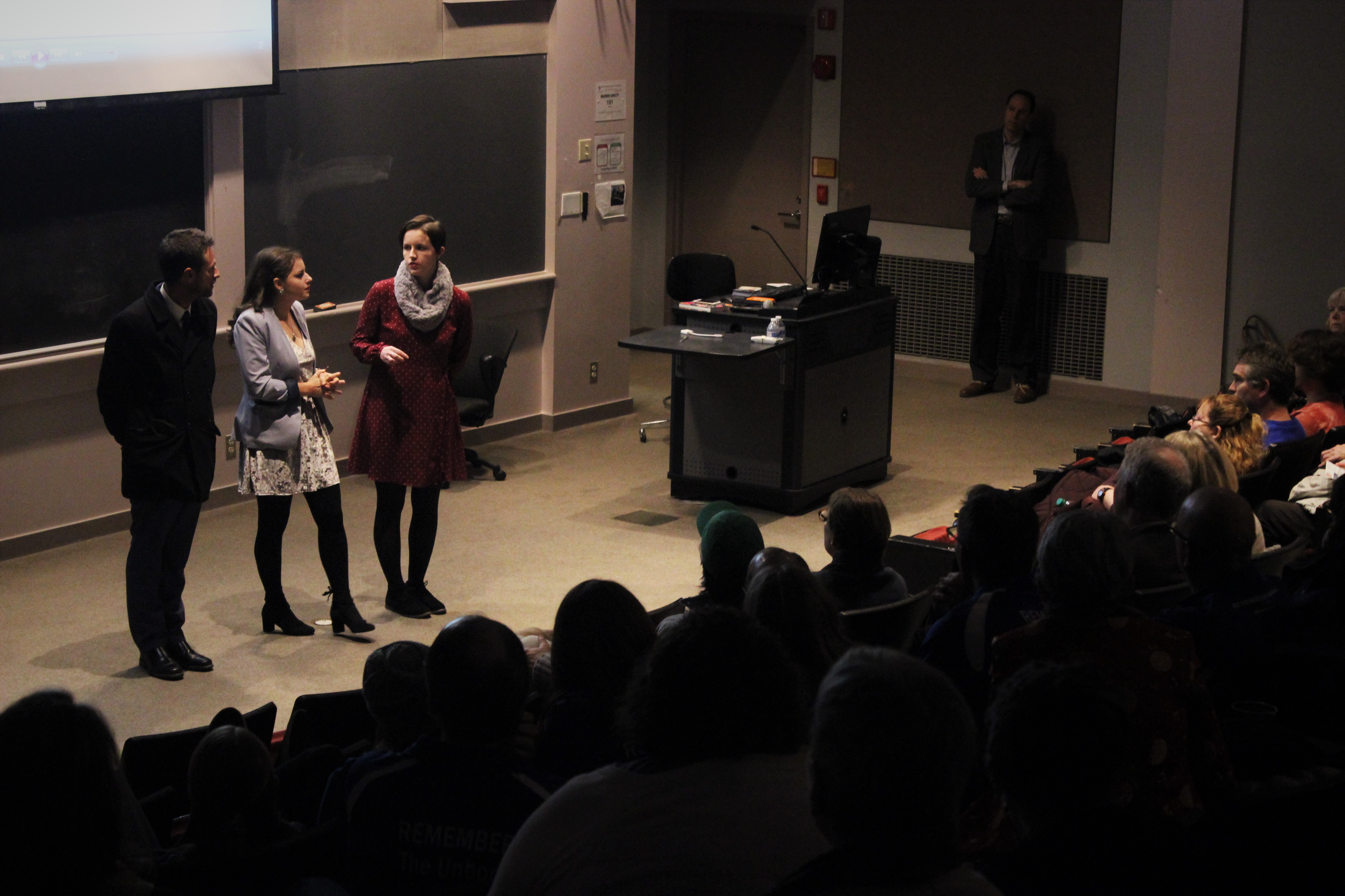 Producers from Stella Mar Films answer questions from audience at film screening
