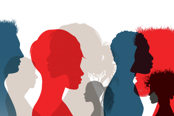 Graphic of face silhouettes