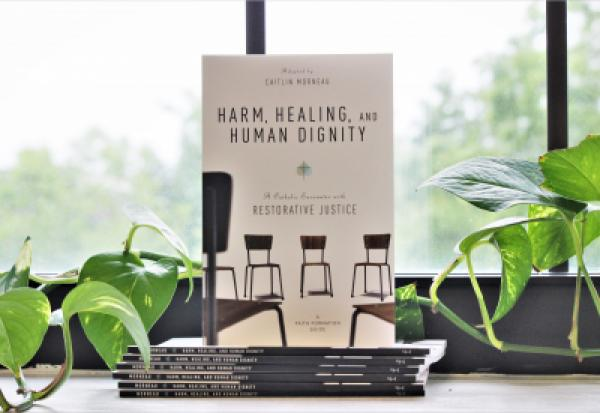 Copy of Harm, Healing, and Human Dignity in front of a window, surrounded by greenery