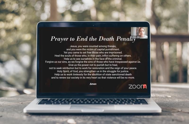 Screen showing CMN prayer vigil