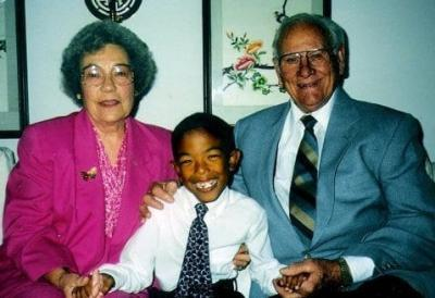 Young Chris Smith, SJ, with his grandparents; his grandfather, Clarence, was Florence's son.
