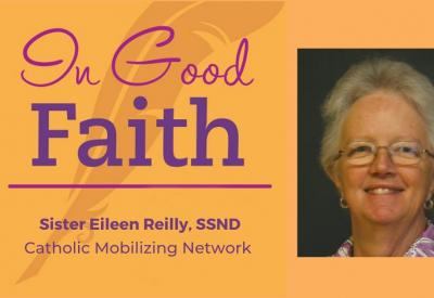 """In Good Faith"" Podcast promo with Sister Eileen Reilly headshot"